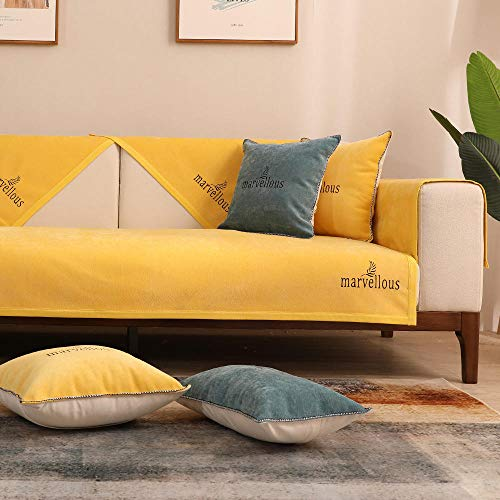 Hybad Fundas Sofa Chaise Longue,Funda de sofá de Tela Fina,Fundas Antideslizantes de 4 Estaciones para sofá de Cuero,Protector de sofá de Chenilla,Toalla de cojín de sofá-Amarillo_110 * 160cm