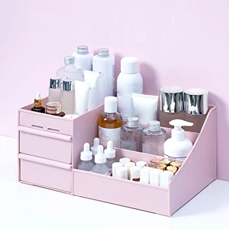Clear Pink Plastic 5-Compartment Small Makeup Storage Organizer Tray