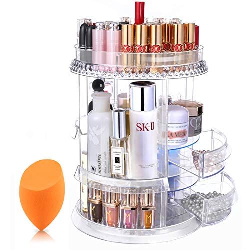 Mokaro 360 Degree Rotating Makeup Organizer for Christmas Birthday Gifts Extra Large Capacity Adjustable Multifunctional Cosmetic Storage Box for Skin Care Products Makeup Sponges (Clear)