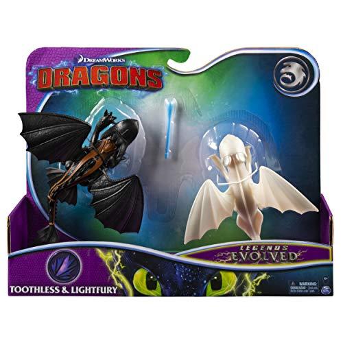 Dragons 6054702 Figures 2-Pack Gift Set Legends Evolved, Toothless and Lightfury Drachenfiguren, Geschenkset, 2er-Pack, Mehrfarbig