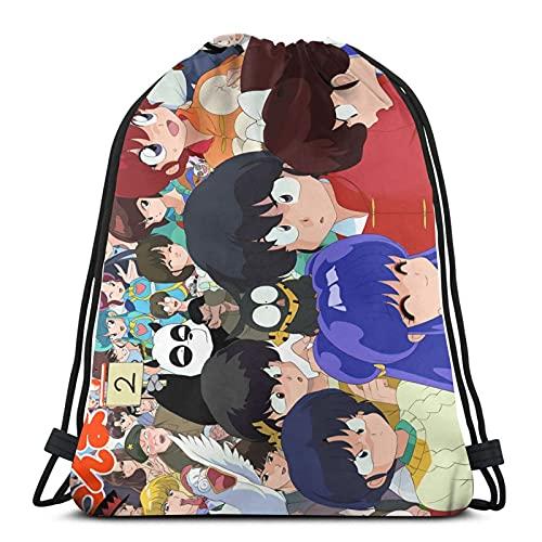 Anime Ranma - Mochila con cordón de una mitad, mochila de cuerda, bolsa de cincha, bolsa de deporte para la escuela, gimnasio, viajes