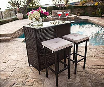 Crownland 3-Piece Patio Outdoor Bar Set, with 2 Stools and 1 Glass Top Table, Large-Capacity Storage Space, Outdoor Furniture Brown Wicker Set for Balcony, Backyards, Gardens or Poolside