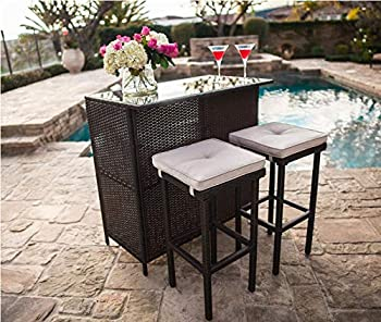 Crownland 3-Piece Wicker Patio Outdoor Bar Set 2 Stools and 1 Glass Top Table Large-Capacity Storage Space Brown Wicker Bar Table Outdoor Furniture Set for Deck Lawn Backyard