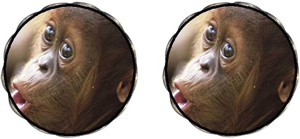 GiftJewelryShop Bronze Retro Style Goofy Monkey Photo Clip On Earrings Flower Earrings 12mm Diameter