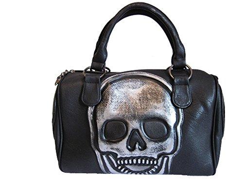 Jn Gianni Handtasche mit Totenkopf Schultertasche Damen Tasche Bowling Bag Schwarz Skull