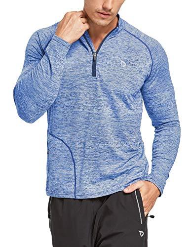 BALEAF Men's 1/4 Zip Long Sleeve Running Shirts Lightweight Pullover Quick Dry Zipper Pocket Heather Blue Size L