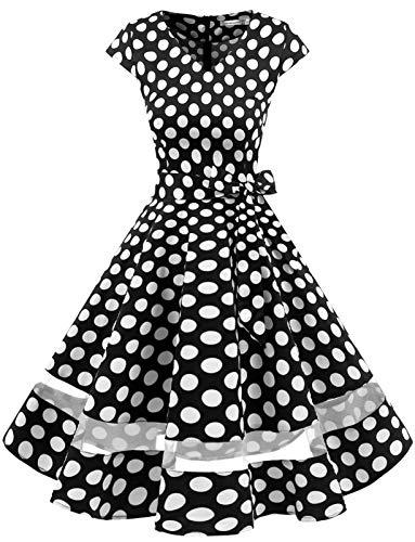 Gardenwed 1950er Vintage Retro Rockabilly Kleider Petticoat Faltenrock Cocktail Festliche Kleider Cap Sleeves Abendkleid Hochzeitkleid Black White Dot XL