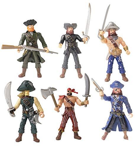 YIJIAOYUN 6 Piezas de acción Figura Piratas de Juguete con Armas / Sea Rover Sea Warriors Figuras Juegos (Cada 3.75