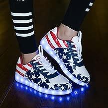 Hot Selling PU Leather EU Sizes 35-43 Unisex US Flag Design Simulation Led Shoes 8 Flashing Modes Light Up Simulation Shoes