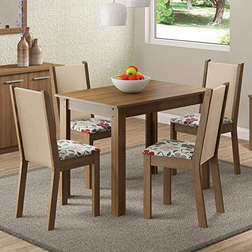 Conjunto Mesa de Jantar e 4 Cadeiras Estofadas Rustic-Hibiscos Cíntia Madesa