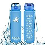 KollyKolla Botella Agua Sin BPA Deportes - 350ml, Reutilizables Ecológica Tritan Plástico, Bebidas Botellas con Filtro & Marcador de Tiempo, para Niños, Tapa Abatible de 1 Clic, Azul Mate