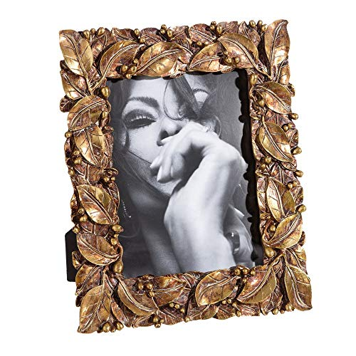 Marco de Fotos de Hojas clásico Dorado de Resina para Foto de 15x20 cm - LOLAhome