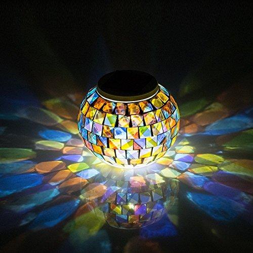 Energie solaire mosaïque boule Colonne Jardin Extérieur Lumière Décoration Ornement Art