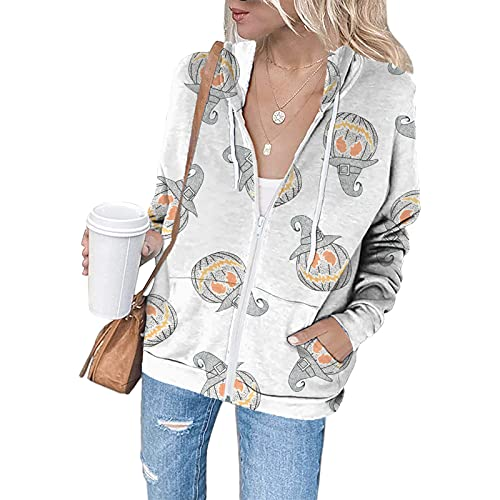 Women's Halloween Fashion Print Zip up Tops Hoodies Sweatshirt Coat Jacket Ladies Casual Long Sleeve Loose Slim Comfy Stretch Active Basic Drawstring Jumper with Pockets(White,Small)