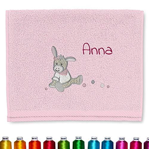 Sterntaler Kinder/Baby Handtuch bestickt mit Namen für Mädchen, Kinderhandtuch personalisiert (Emmi Girl Rosa) für Mädchen - zur Taufe, Geburt oder Geburtstag