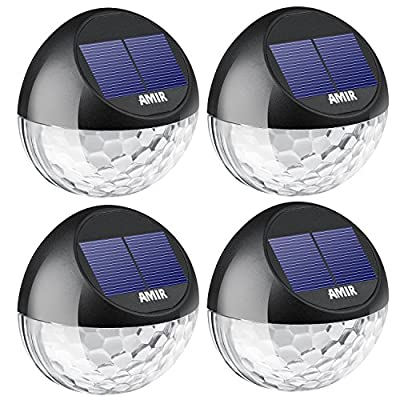 AMIR Solar Fence Lights Outdoor, 4 Pack 22LM Deck Lights, Auto On/Off Dusk to Dawn Post Lights, Waterproof Solar Garden Decorative Step Light, for Wall, Pathway, Driveway,