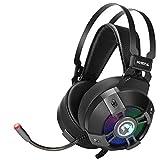 Marvo HG9015G Gaming Headset 7.1 Virtual Surro& 50mm Treibern, USB 2.0, omnidirektionales Micro, doppelter Metallbügel, RGB Beleuchtug, PC, Laptop