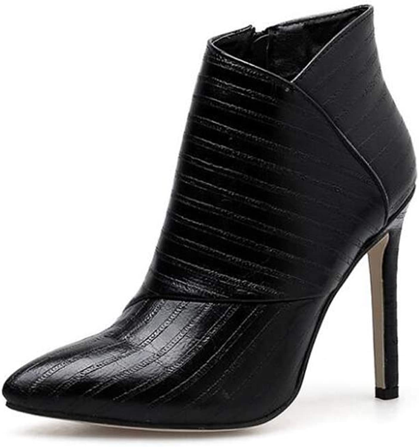 Women Sexy Ankle Bootie 11Cm Stiletto Pointed Toe Zipper Martin Boot Embossed Pattern OL Court shoes EU Size 34-40