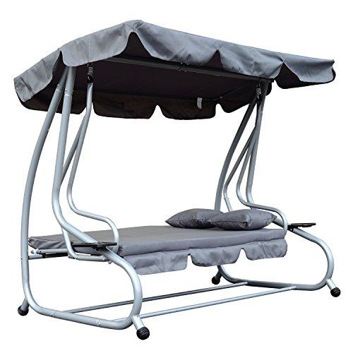 Outsunny Hollywoodschaukel Gartenschaukel 3-Sitzer Liegefunktion Stahl Grau 200x120x164cm - 6
