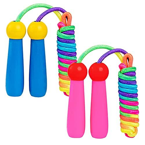 Junlic Springseil Kinder, 2 Stück 240cm Verstellbare Seilspringen Fitness Kinder mit Holzgriff und Baumwollseil Rope Skipping Seil Kids für Jungen und Mädchen Pink+Blau