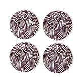 Line Design Plant Purple Coasters 4 Pcs Round Cups Mugs Place Mats Modern Ceramic Coasters Decor for Drinks Bar Wooden CoffeeTable Cork Base Decorative Coasters for Housewarming, 4'