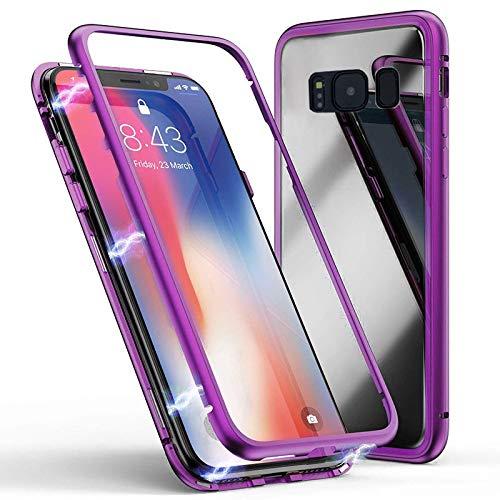 Jonwelsy Kompatibel mit Samsung Galaxy S8 Plus Hülle, Stark Magnetische Adsorption Technologie, Ultra dünn Metallrahmen Transparent Gehärtetes Glas Rückseite Case Cover für S8+ (Pourpre)