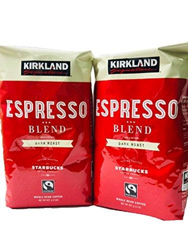 (Pack of 2) Kirkland Signature Dark Roast ESPRESSO BLEND Coffee Roasted By Starbucks 32 Oz. Bag