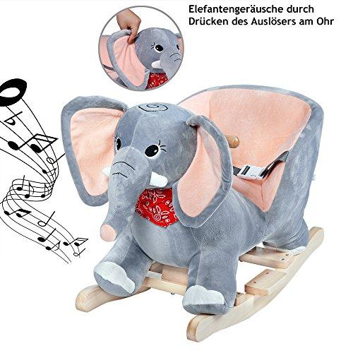 Deuba Schaukelelefant | Schaukeltier Plüsch Schaukel Wippe Pferd Einhorn Kinder Baby Spielzeug | Sound-Geräusche | inkl. Sicherheitsgurt | Balancetraining | besonders weich - 3