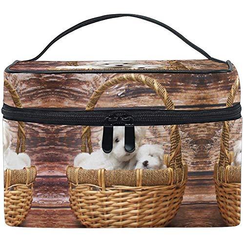 Make-up tas twee hond bruin rieten mand reizen cosmetische zakken organisator trein case Toiletruimte make-up