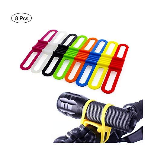 Shuny 8 Piezas Silicona Elastica Correa de Caucho Vendaje Corbata Linterna Titular, Correas de Silicona Soporte para Luces de Bicicleta de montaña Soporte de Linterna Correas Multiusos Paquete