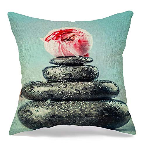 Decorative Linen Throw Pillow Cover Blue Asian Hot Black Basalt Massage Stones Water Sports Recreation Aromatherapy Green Balance Care Soft Cushion Covers 16 x 16 Inches for Bed Car Couch Sofa