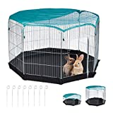Relaxdays Outdoor Run with 8 Grids for Rabbits Guinea Pigs HW 92 x 160 x 160 cm Silver, 1 Item