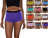 Sexy Basics Women's 6 Pack Modern Active Boy Short Boxer Brief Panties (12 Pack Bonus- Sexy Solids, XX-Large)