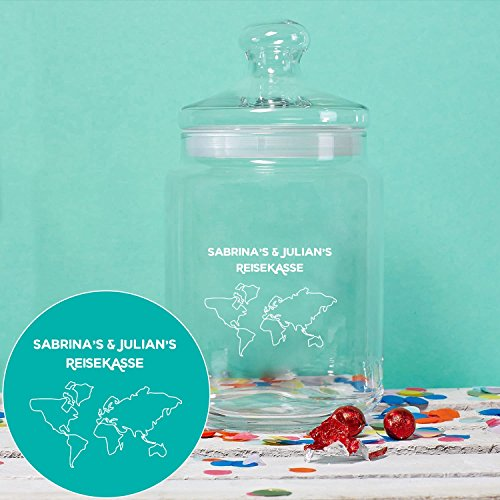 Geschenke.de Personalisierbares Keksglas Reisekasse mit Gravur – individuelle Reise Geschenkidee für Männer und Frauen oder für ausgefallene Geldgeschenke zur Hochzeit - 2
