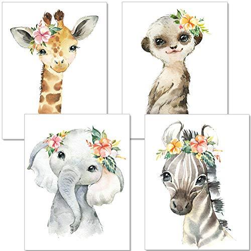 artpin® 4er Set Poster Kinderzimmer - A4 Bilder Babyzimmer - Deko Mädchen(P36)