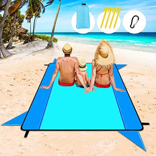 Redmoo Picknickdecke 210 x 202 cm Stranddecke Strandmatte wasserdichte Strandtuch sandabweisende Tragbare Campingdecke Leichte Stranddecke mit Tasche, Karabiner und 4 Befestigung Ecken (Stil 2)