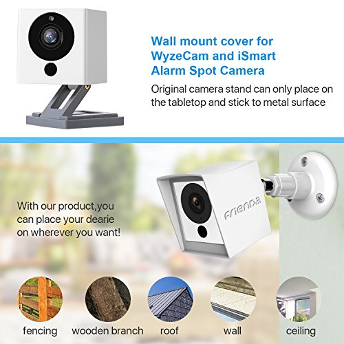 Frienda Silicone Cover Protective Skin for Wyze Cam 1080p HD Camera and iSmart Alarm Spot Camera, White Outdoor Cover with 360 Degree Wall Mount, Protect from Rain/Dust/UV (Camera Not Included)