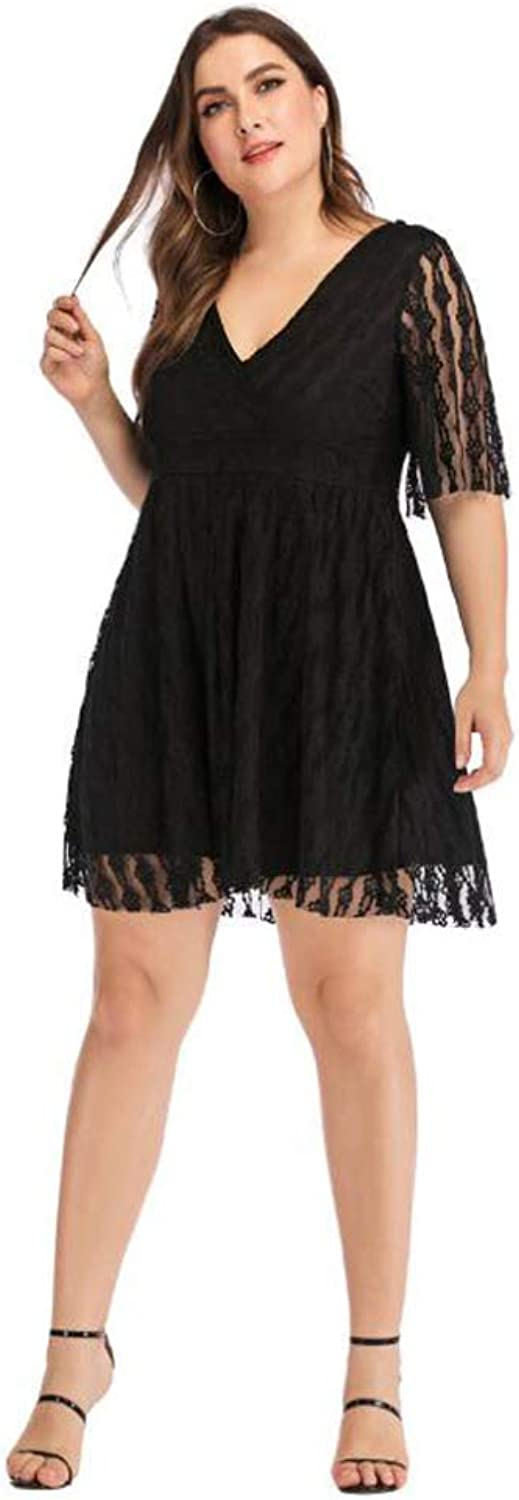 RATWIFE Large Size Women's Dress 2019 Summer New Sexy VNeck FivePoint Sleeve Black Openwork Lace Skirt