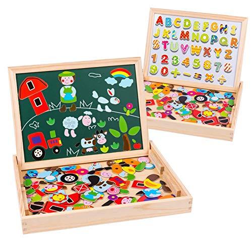 Uping Puzzle Magnétique avec Tableau Double Face Aimanté pour Enfant 3 Ans et Plus 155 Pièces