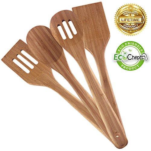 EcoCheph 4-Piece Eco-friendly Non Scratch Natural Bamboo Utensil Set