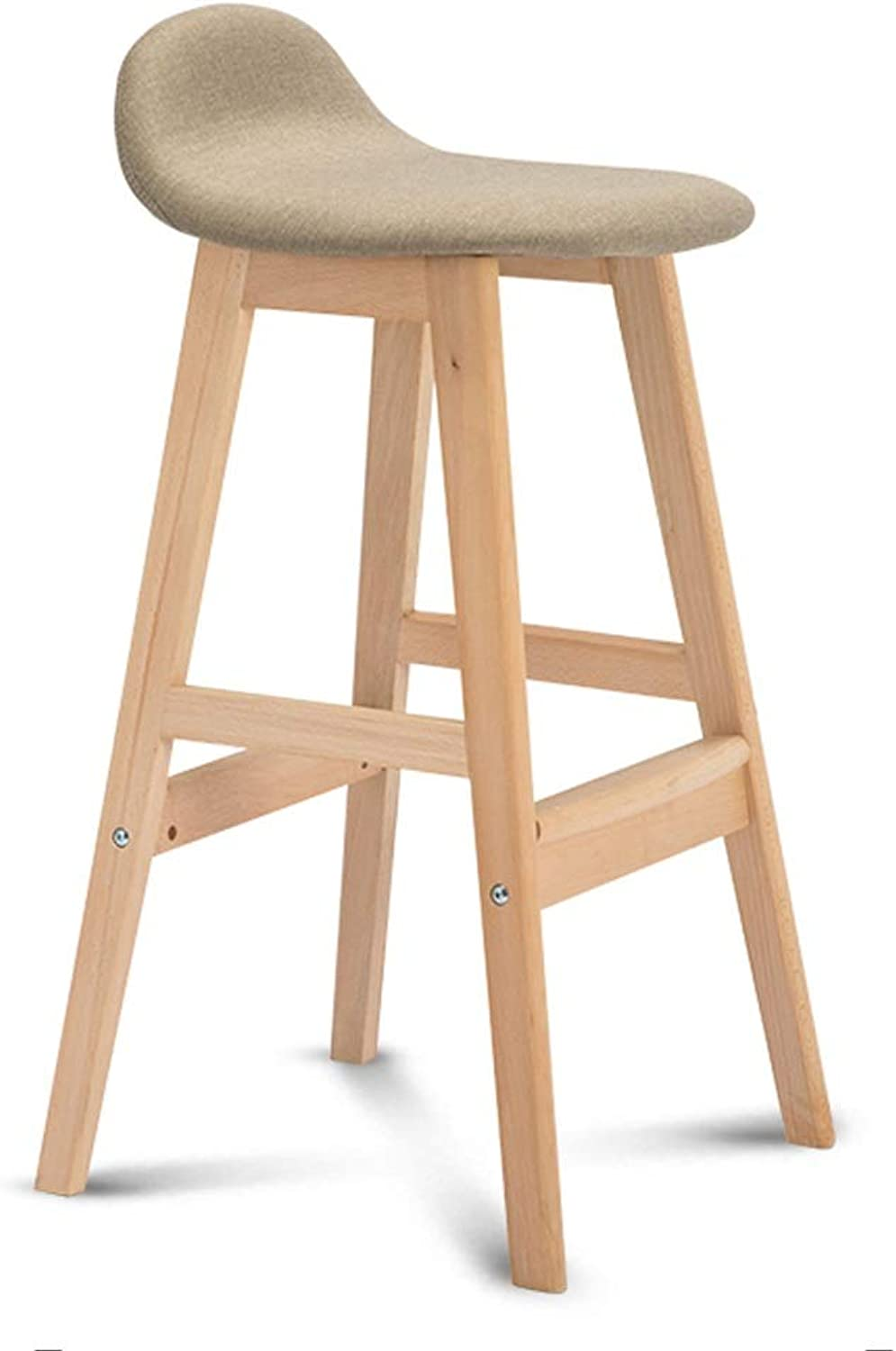 Barstools - Breakfast Stool Wood Bar Chair Linen Bar Stool with Widened Footrest Barstools for Kitchen Counter 0509A (color   Beige)