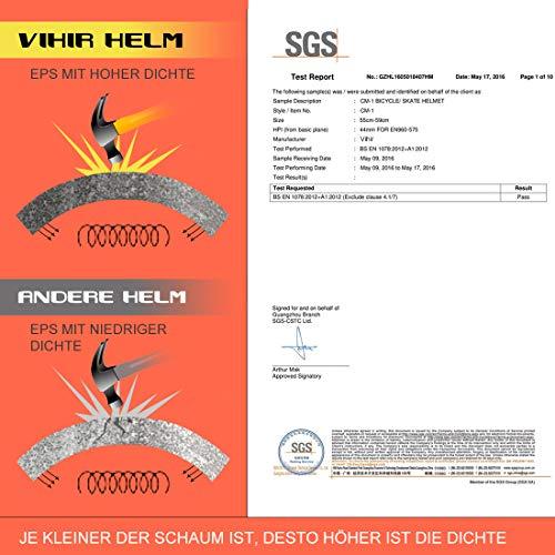 Vihir Erwachsene Fahrradhelm Skaterhelm E-Scooter E-Roller BMX Fahradhelm Herren Damen Sport Helm für Männer & Frauen Schwarz Weiß Dunkelgrau (L/XL 56-62CM, Holzmaserung) - 9