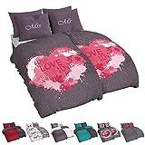 Niceprice Biancheria da letto per partner, in 10 bellissimi design, in microfibra, 135 x 200, 155 x 220, 2 x 155 x 220 cm, 2 x 80 cm