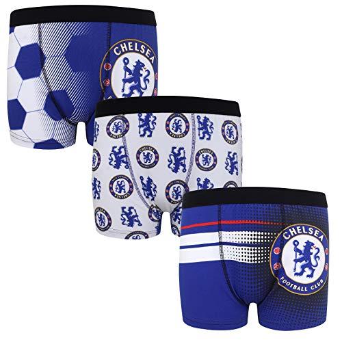 Chelsea FC - Jungen Boxershorts mit Vereinswappen - Offizielles Merchandise - Geschenk für Fußballfans - 3 Paar - Blau - 7-8 Jahre