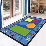 Kinderteppich Spielteppich Kinderzimmer Rug Babydecke Matte Moderne Babyteppich Buchstabenformen erkennen blaues Rot size:1.1×1.6M