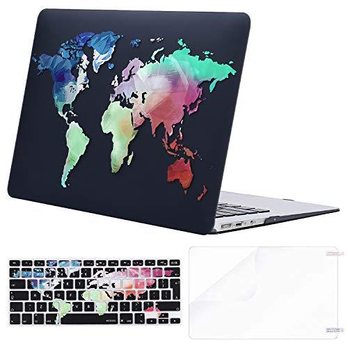 MOSISO Custodia Rigida Compatibile con 2010-2017 MacBook Air 13 Pollici Case A1369/A1466,Cover&Colore Corrispondente Tastiera Cover(Inglese EU Layout)&Proteggi Schermo,Mappa Mondo Base Nera