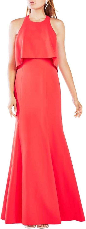 BCBG Max Azria Womens Louella Crepe Popover Evening Dress
