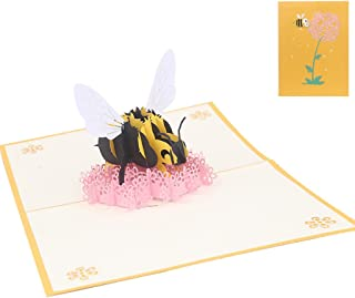MEIYIN Bee Flower Greeting Cards Handmade Birthday Wedding Invitation 3D Popup Card
