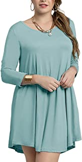 Women's Casual Loose 3/4 Sleeve Simple Plain Swing Flowy T-Shirt Dresses