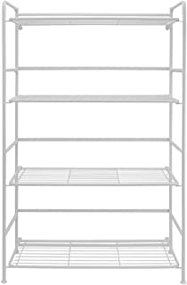Flipshelf Folding Metal Bookcase-Small Space Solution-No Assembly-Home, Kitchen, Bathroom and Office White, 4 Shelves, Wide